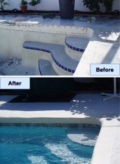 Before/After Photo of Frisco Pool and Deck Renovations