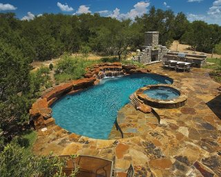 Land Design flagstone pool deck