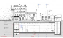 Plans for the refurbishment of Damien Hirst's house in north London, with changes in purple. Courtesy of Purcell.