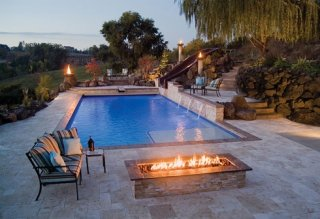 Rugged Class travertine pool deck